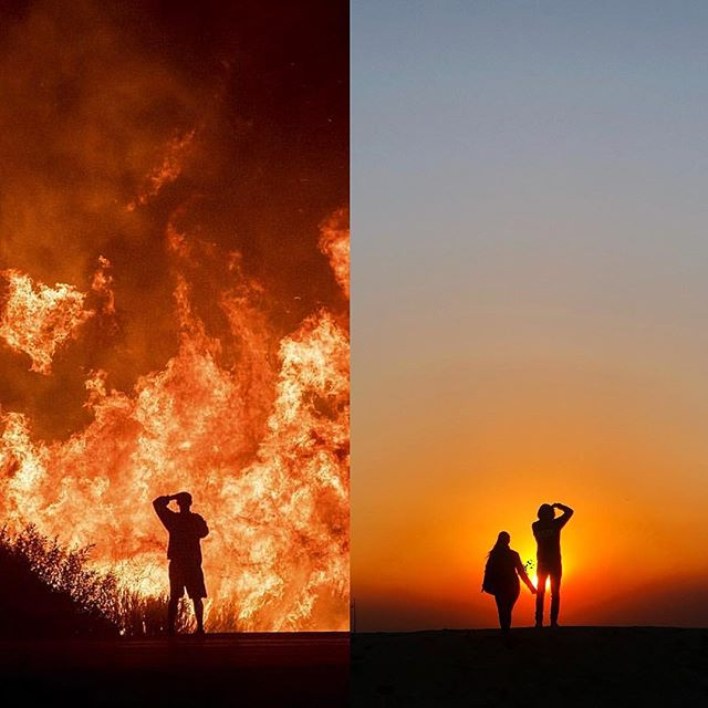 Such cathartic times for the planet, Southern California and LA included.  Earth needs more deep breaths, massive transformation happening. Ventura fire on the left (Noah Berger AP), Venice sunset on the right. Stay safe everyone 🙏🏼 . . .  #planet #earth #change #revolution #fire #nature #city #losangeles #challenge #drought #wildfire #ventura #socal #405 #hills