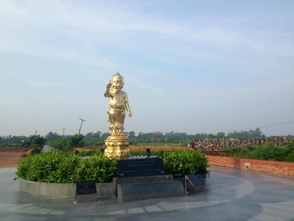 Prayer walk at the birthplace of Buddha.
