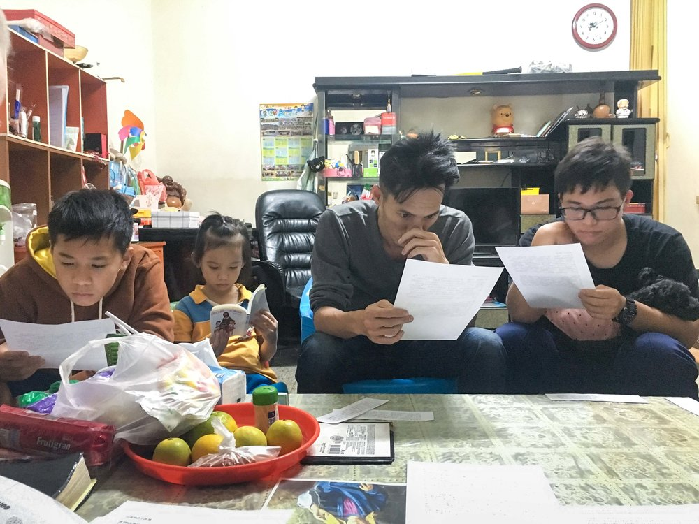 Family cell group with Stanley and his 3 children