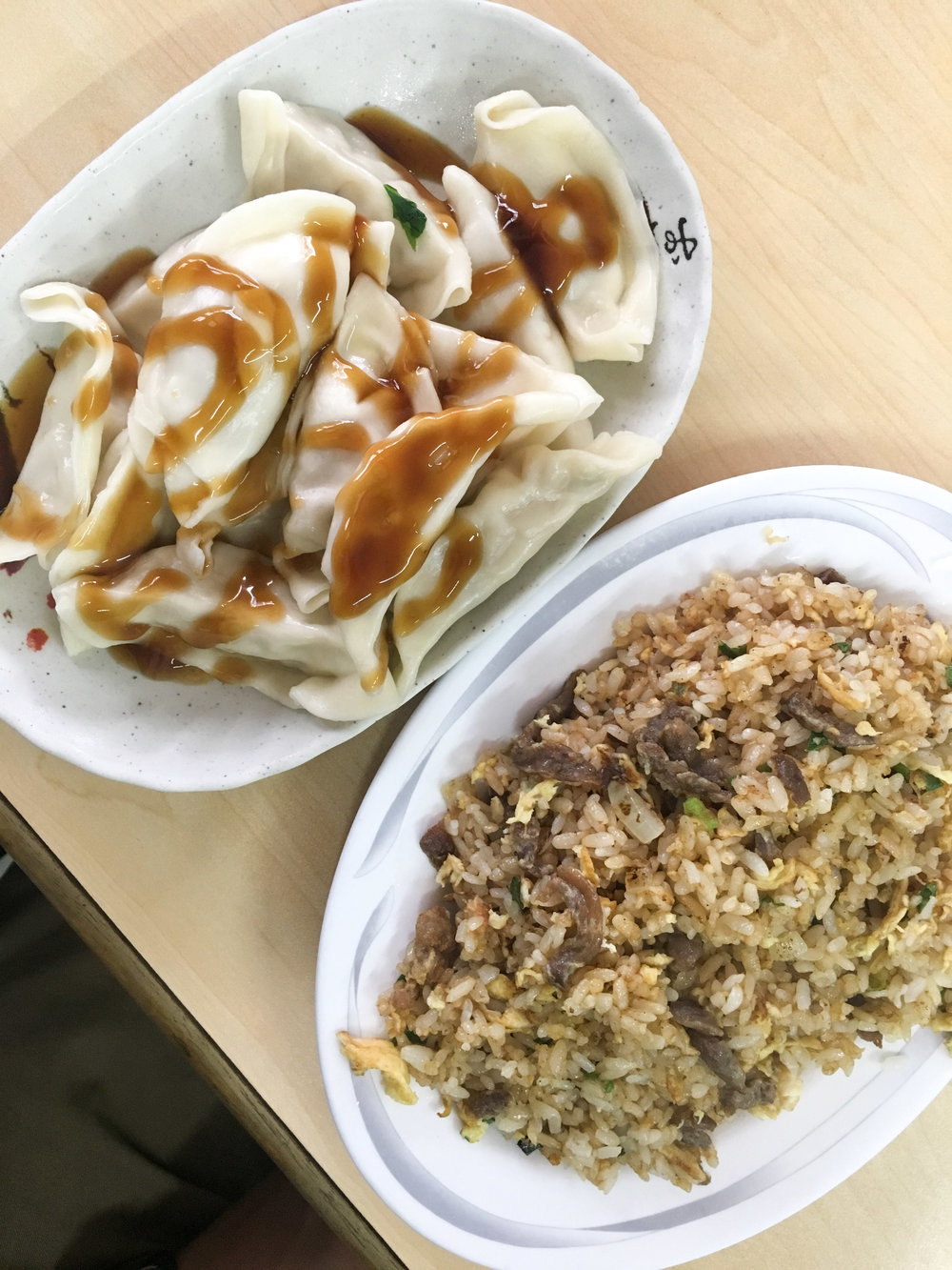 Dumplings & Fried Rice from a local restaurant