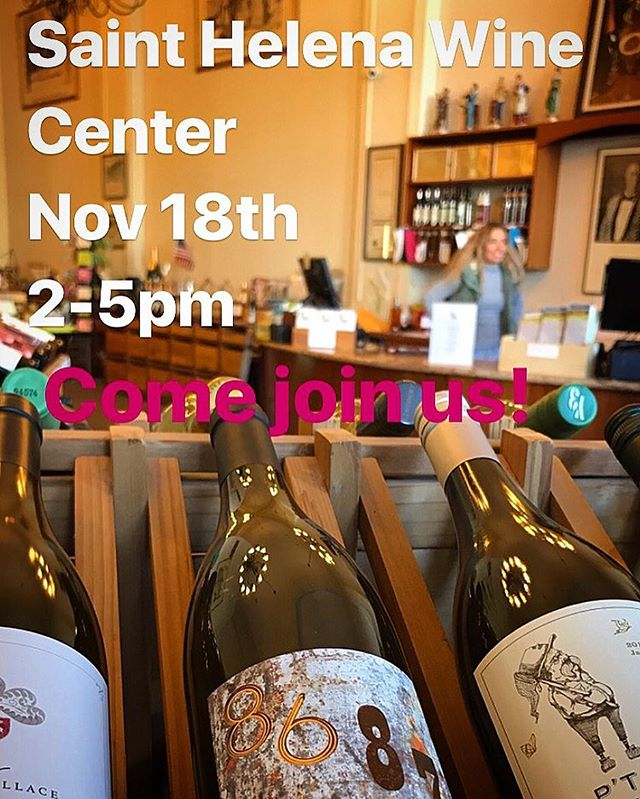 We will be pouring this Saturday the 18th 2-5pm at the St. Helena wine center. Come have a taste and stock up on your favorite #8687wine for the holidays. #napavalley #sthelenawinecenter #boutiquewine