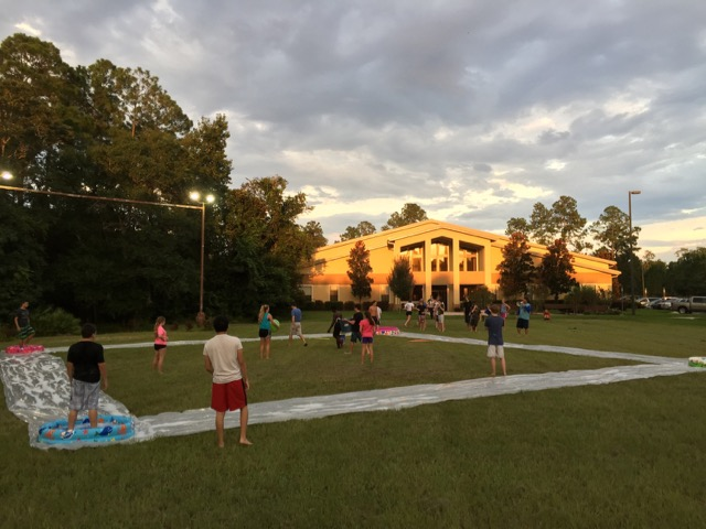 Last week's Youth Group game: Slip n Slide Kickball!