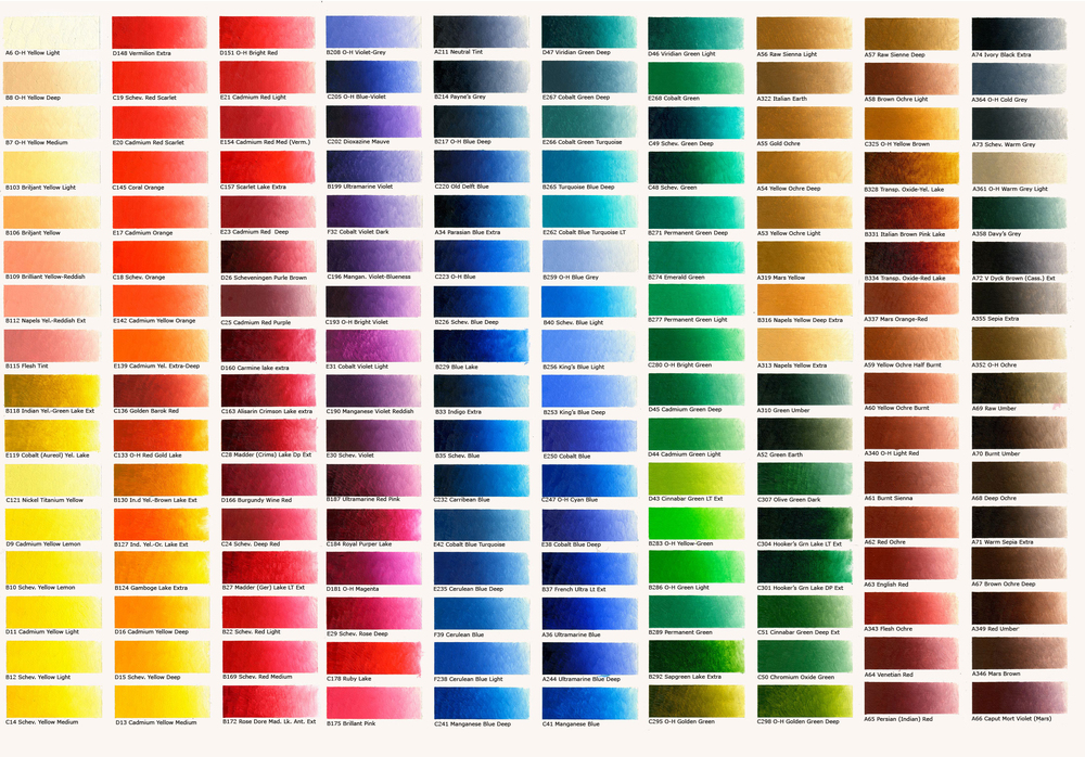 All 168 Old Holland oil colors are available at the Palette Shop in 37mL and 200mL, with certain whites available in half liter cans as well.