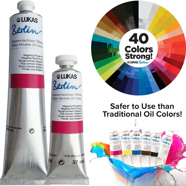 LUKAS Berlin Water-Mixable Oil colors are the perfect paints to work with for the environmentally conscious painter—safer to use than traditional oil colors, with professional results! This professional quality line of 40 colors have all of the excellent features of LUKAS' most popular oil paints, but eliminate the need for harsh chemicals and toxic solvents. Key Features: Professional quality High-quality lightfast pigments Dry to the touch in just 5-7 days Available in 37ml and 200ml tubes Perfect For: Eco-Friendly Art Studios Smooth, buttery painting Painting with synthetic brushes Painting without any harsh chemicals