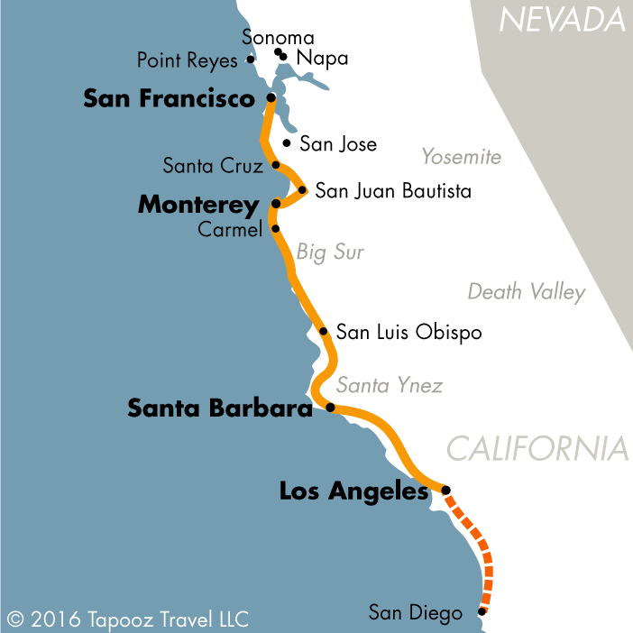 los angeles route 1 san francisco tapooz travel rh tapooztravel com san francisco to san luis obispo time san francisco to san luis obispo train