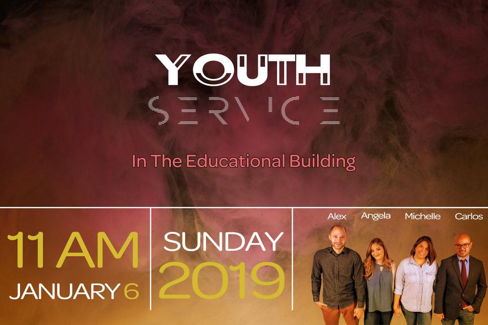 Servicio de Jóvenes - Únase a nosotros el 6 de enero para nuestro primer servicio de Jóvenes en 2019.