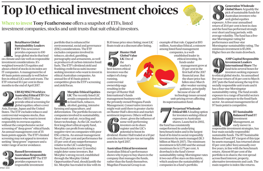 AFR top 10 ethical funds