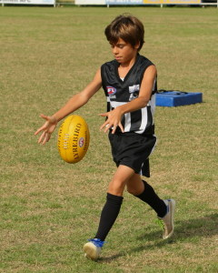 Charlie before a growth spurt, showing a nice kicking action.