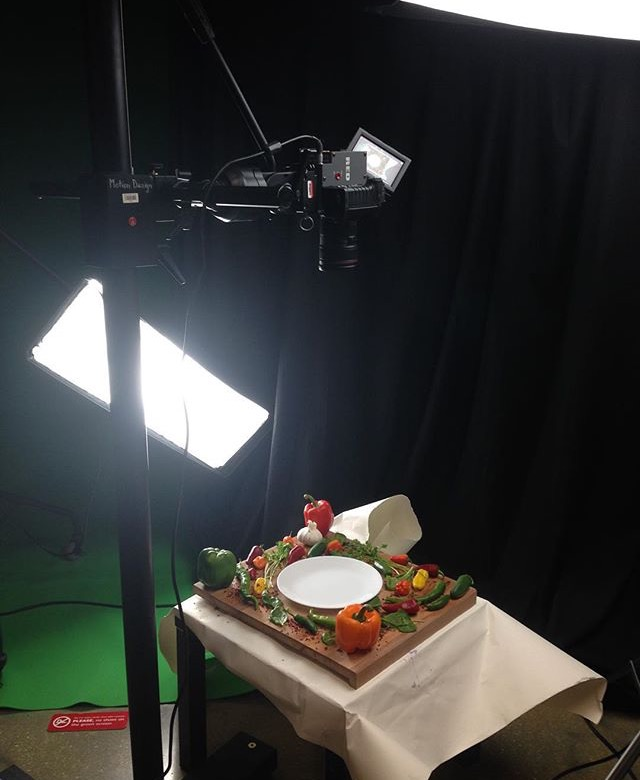 BTS: Arrange fruits/vegetables accordingly within framing for later compositing.