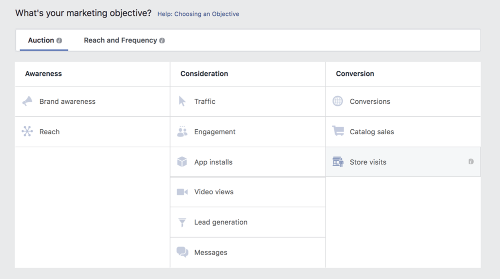 Facebook Campaign Objective Homepage.