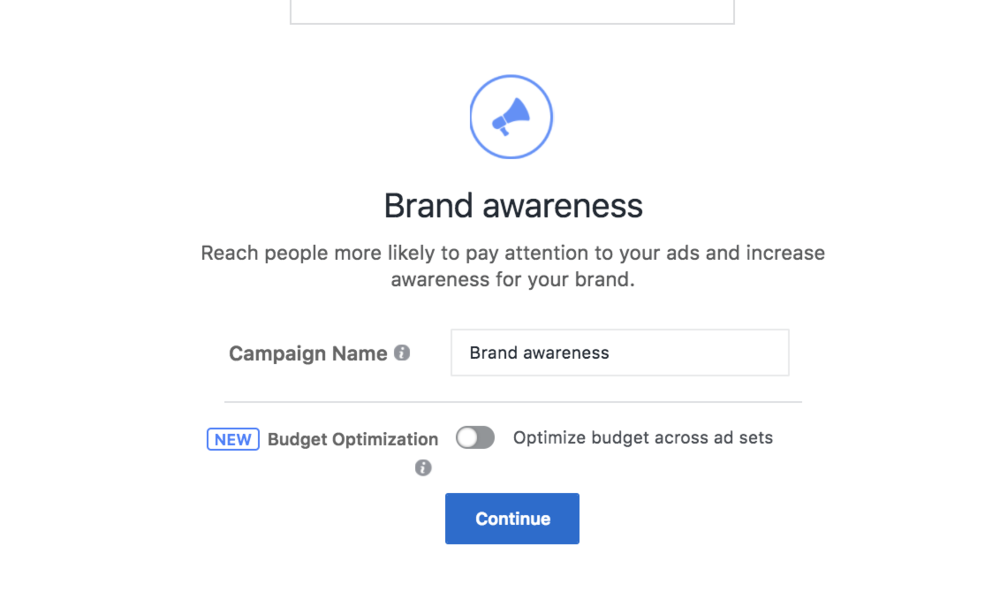 Name your campaign and decide if you want to optimize across ad sets.