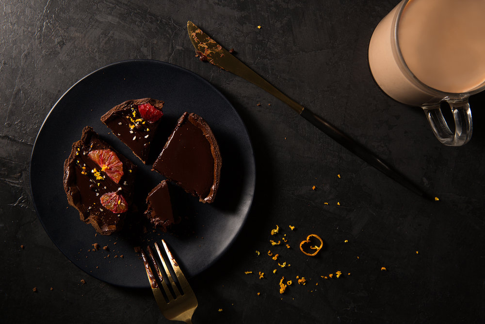 Dark Chocolate Tart with Blood Oranges
