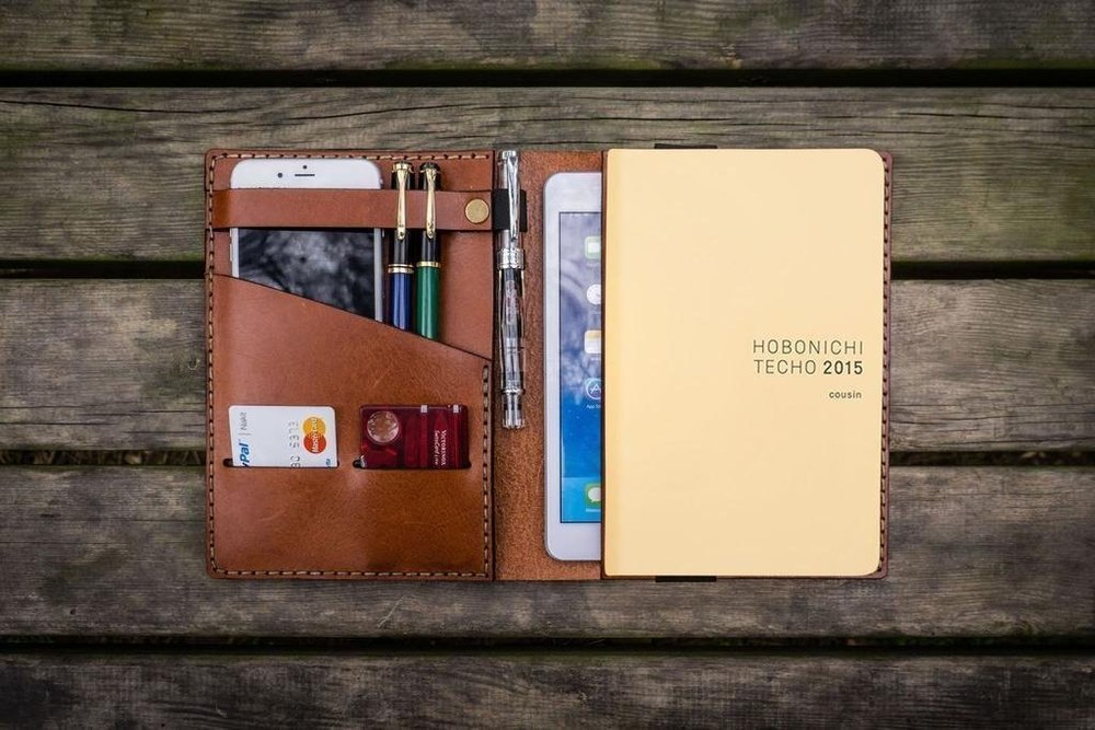 The Galen leather cover + Hobonichi Techo + Twsbi combo that I use for my day-to-day planning and journalling.. Image credit: Galen Leather.