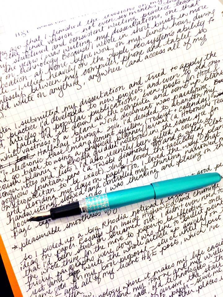 Writing this post by hand on Rhodia gridded paper with one of my Pilot Metropolitan pens and Noodler's Ink in X-Feather. (I told you I was a geek.)