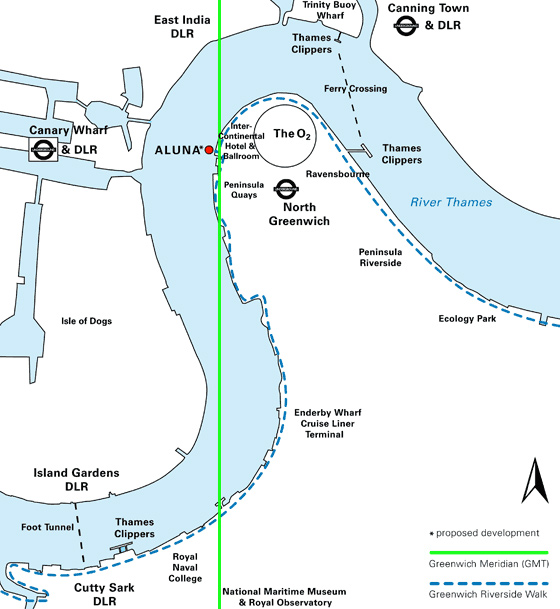 Porposed location of Aluna along the Meridian Line (Aluna Foundation)