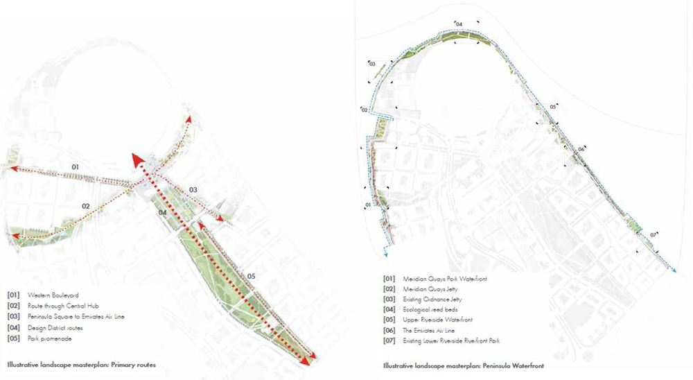 Green spaces and riverside areas on the Peninsula, 2015 Masterplan  (Knight Dragon)