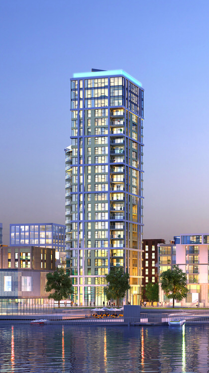 CGI: The Lighterman tower on Lower Riverside of Greenwich Peninsula [Knight Dragon/CJCT]