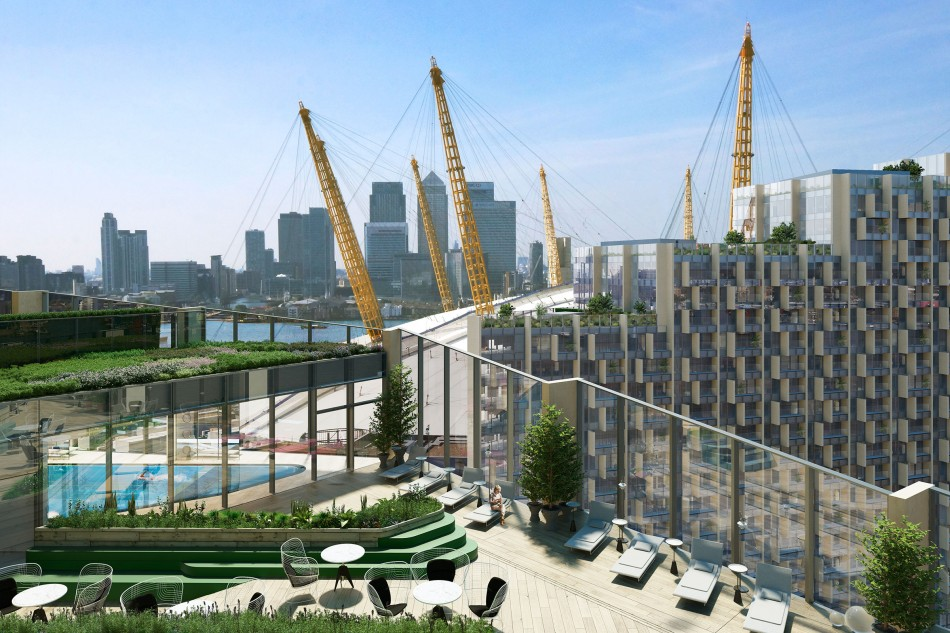 No. 2 Upper Riverside features a swimming pool and roof terrace on the 15th floor (Greenwich Peninsula)
