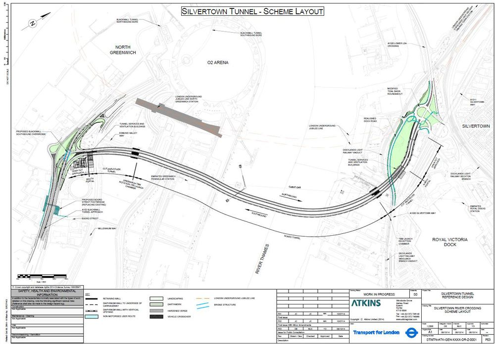 Proposed layout of Silvertown Tunnel (TfL, March 2014) on both sides of the River Thames