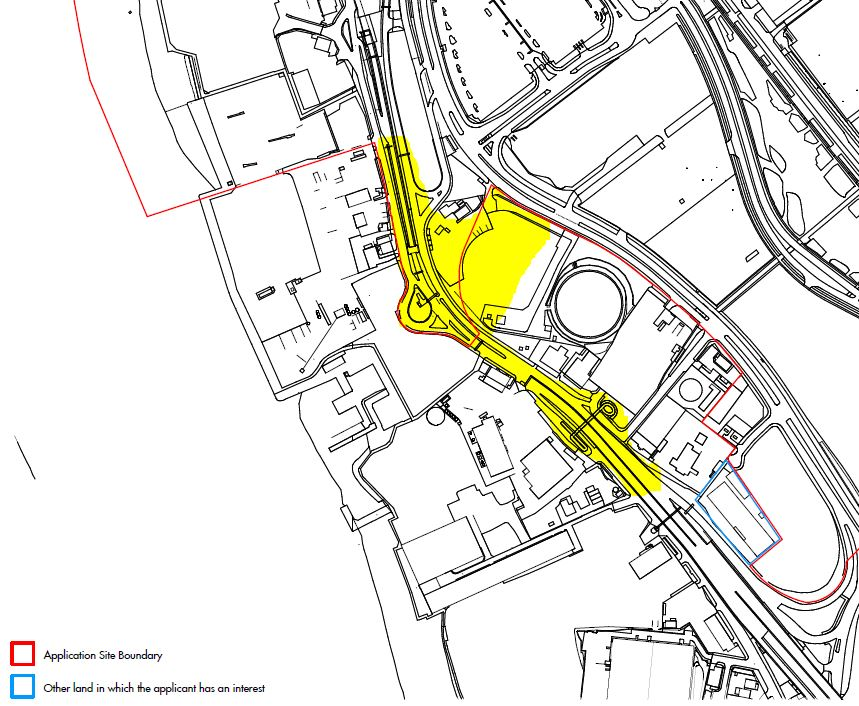 Approximate area of redevelopment (yellow) highlighted on 2015 Masterplan area