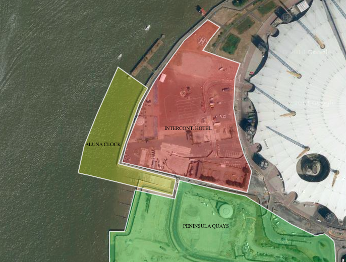 Proposed site of the Aluna Moon Clock west of the Hotel and Peninsula Quays sites (full interactive map here)