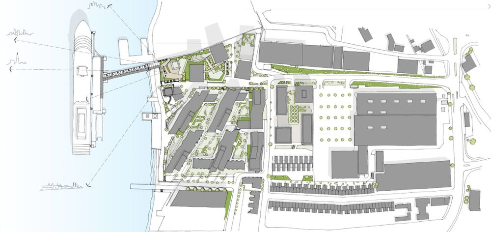Proposed Enderby Place scheme (2015) within the approved Enderby Wharf development  [Manser Practice]