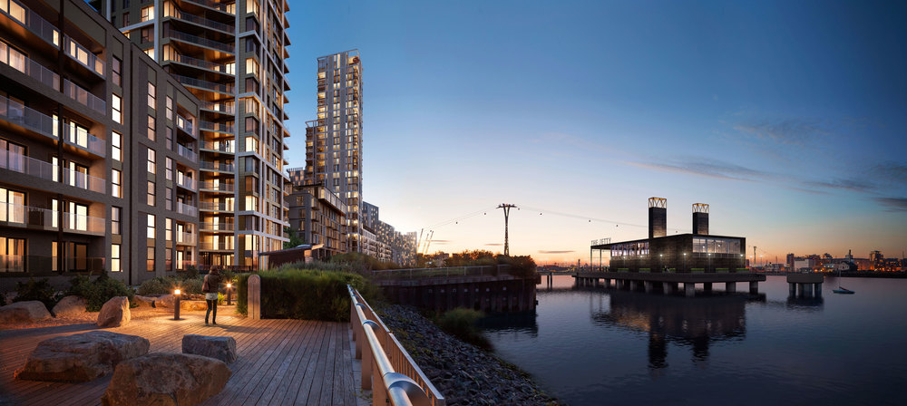 CGI: Lighterman tower on the Lower Riverside of Greenwich Peninsula [Knight Dragon/DSDHA]