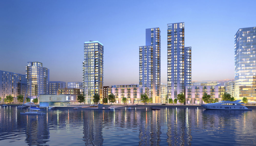 CGI: Lower Riverside developments fronting the river, (left to right): Bellway's Platinum Riverside and City Peninsula and Knight Dragon's Jetty, Lighterman, Waterman and M0121 (Knight Dragon/CJCT)