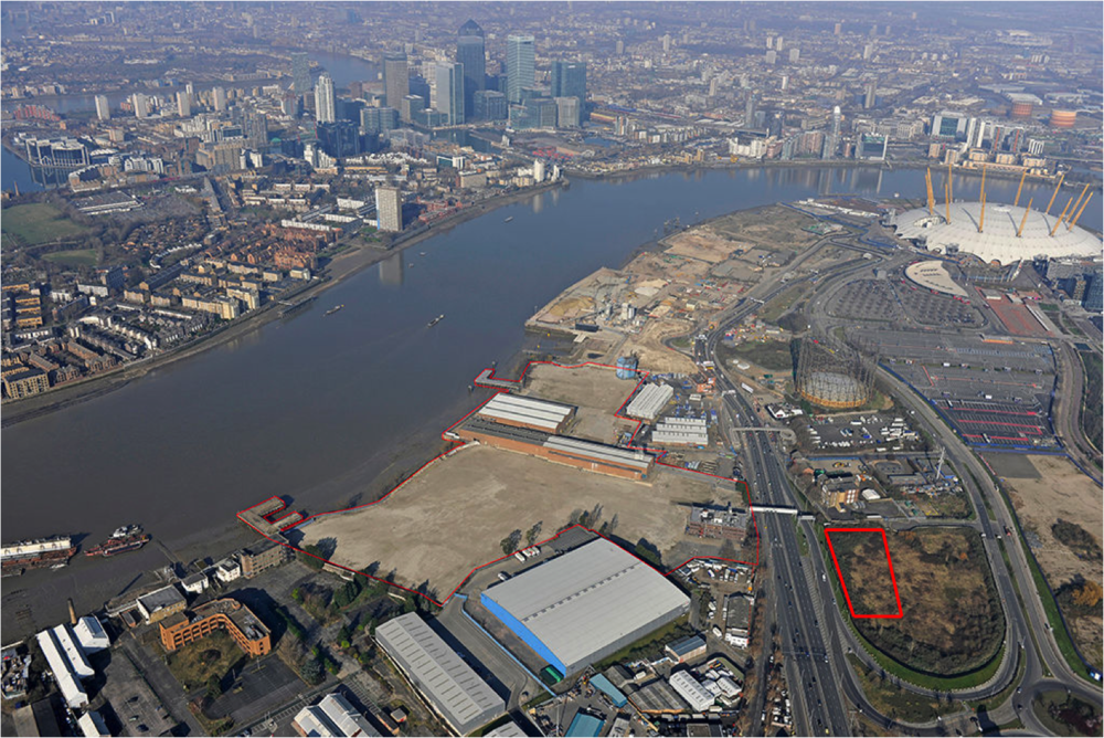 Site of Energy Centre (bold red), located to the east of the proposed Modern Wharf development [Development Securities and Cathedral, now merged to form U+I Plc]