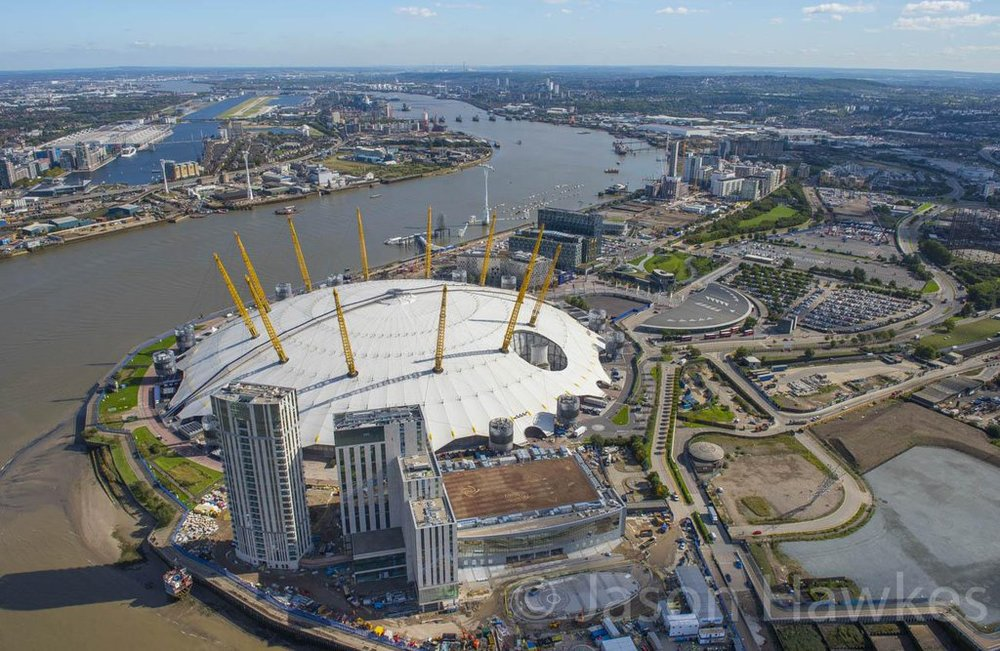 Aerial view of  InterContinental Hotel - The O2  under construction, September 2015 [ Jason Hawkes ]