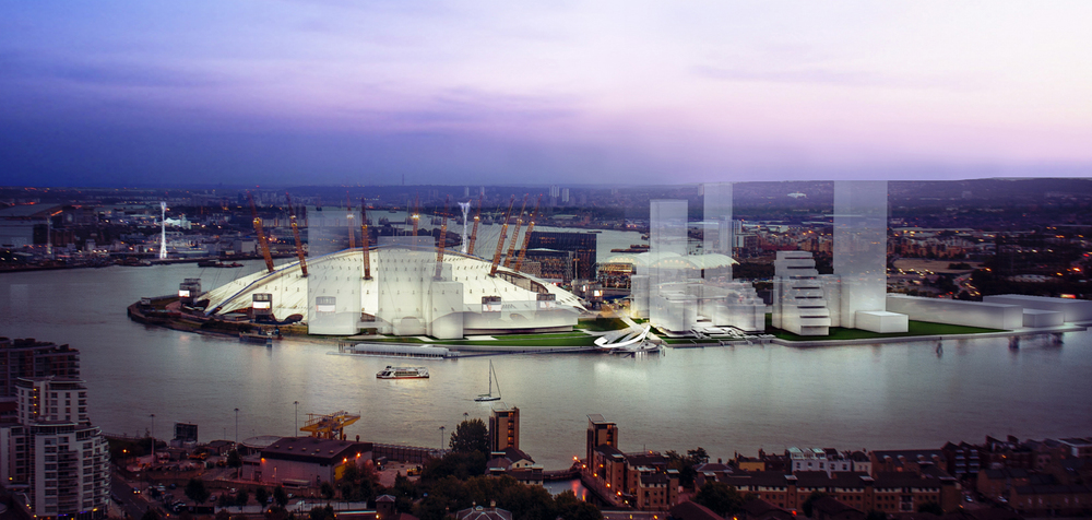 Aluna Clock's proposed location on the northwest foreshore of the Greenwich Peninsula [ Aluna Foundation ]
