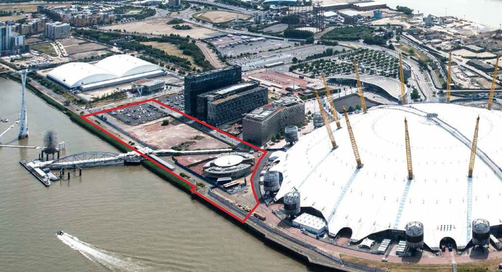 Site of Upper Riverside development (outlined red) on north-east of Greenwich Peninsula