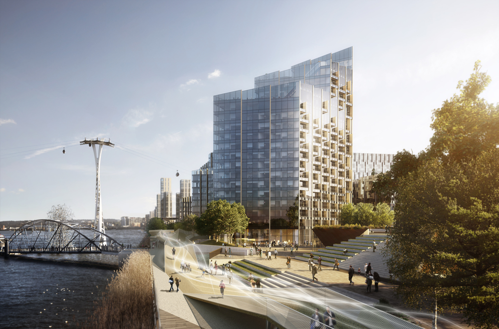 Most recent CGI showing Waterfront Square, Upper Riverside
