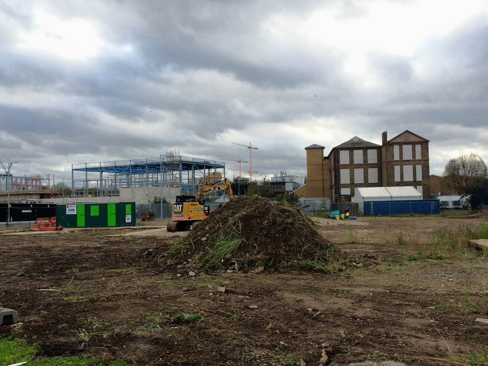 Ground works begin around site of substation, east of the Energy Centre construction site -  November 2015  [greenpenlondon]