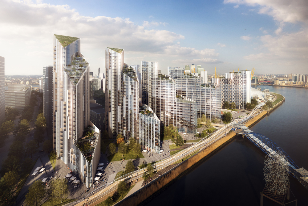 Construction work commences on Knight Dragon's Upper Riverside development, on the northeast riverside of the Peninsula. Work on all five buildings is scheduled to complete around May 2020 [Greenwich Peninsula]