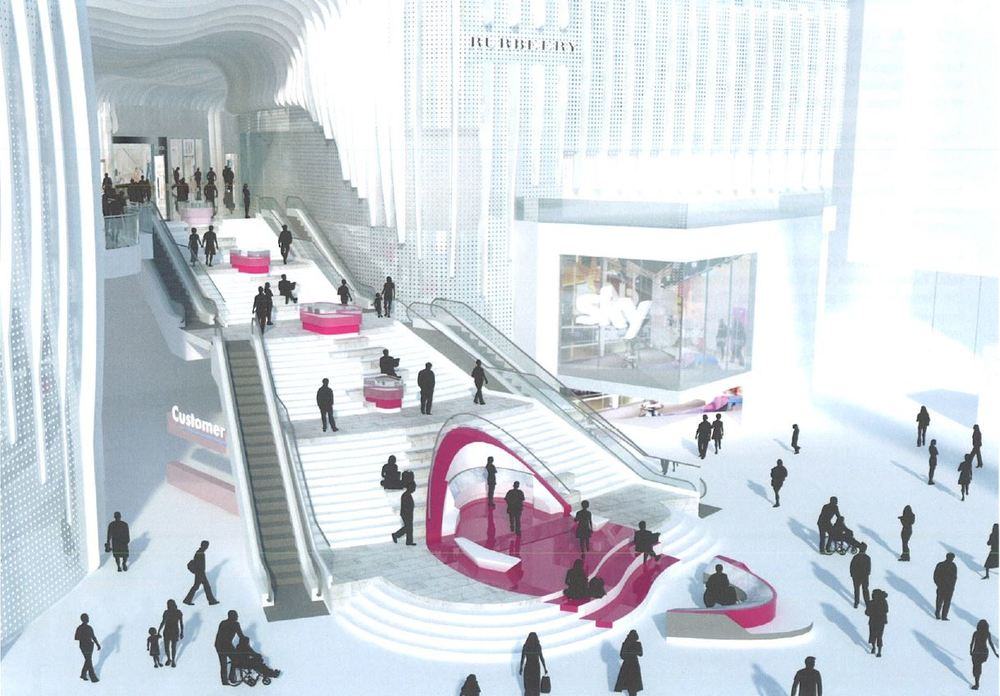 Early design proposals for Designer Outlet Collection, occupying the presently empty floorspace within the Entertainment District of The O2 - released October 2014 [AEG/RTKL Architects]