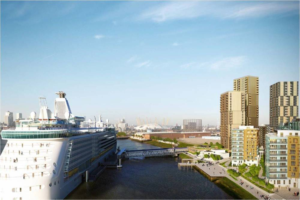 AND FINALLY... the highly contested revisions to the Enderby Place scheme (approved Aug 2015) by Barratt Developments and Westcourt Real Estate, which is to include a significantly enlarged cruise liner terminal and three new towers rising to 29 stories [HLM/Manser Practice]