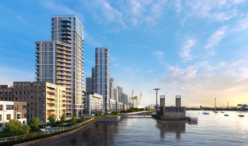 CGI of the completed Lower Riverside developments showing The Lighterman and Waterman towers and The Jetty - released Sept 2015 [CJCT Architects]  Below: CGI and construction update on The Lighterman tower, located south of The Waterman plot - March 2016 [CJCT]