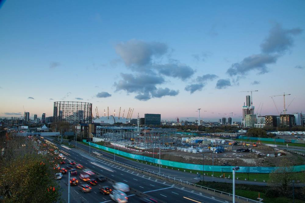 View from roof of Ibis Styles hotel north over the A102 road and the Energy Centre construction site - Nov 2015 [ @One Investments ]