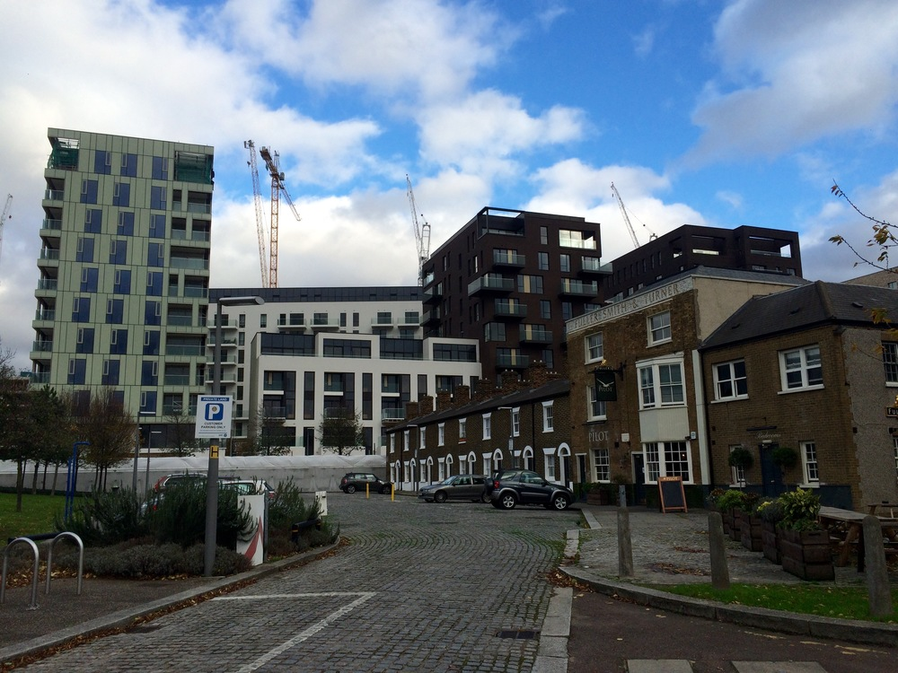 View along River Way towards The Pilot Inn and Knight Dragon's Cable & Roper development, taken as it completion in Nov 2015 [ @greenpenlondon ]