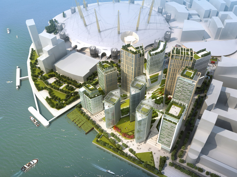 Conceptual design for Peninsula Quays Masterplan (2013) - superseded by revised 2015 Greenwich Peninsula Masterplan