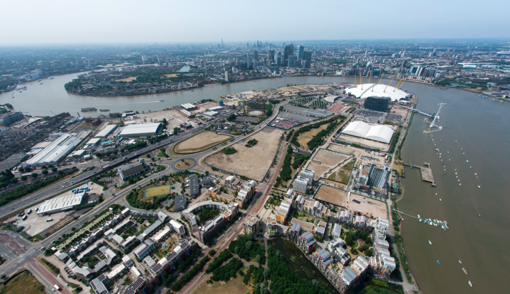 Aerial photograph of the Greenwich Peninsula (c. 2013), following the completion of City Peninsula and Scape Greenwich on the Lower Riverside