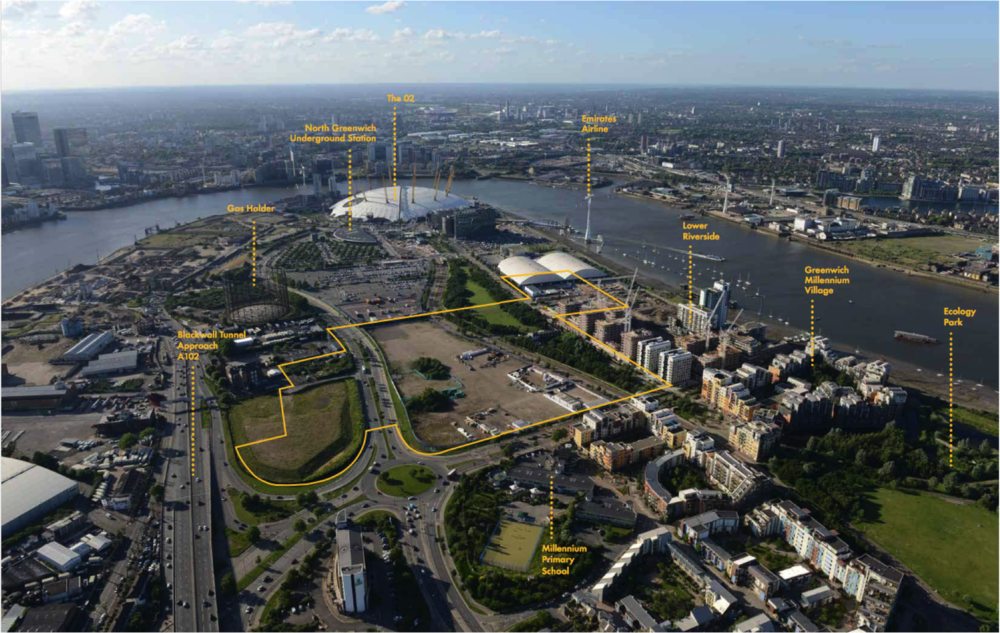 Aerial view north across the Greenwich Peninsula (photo from 2013) highlighting Development Zone C