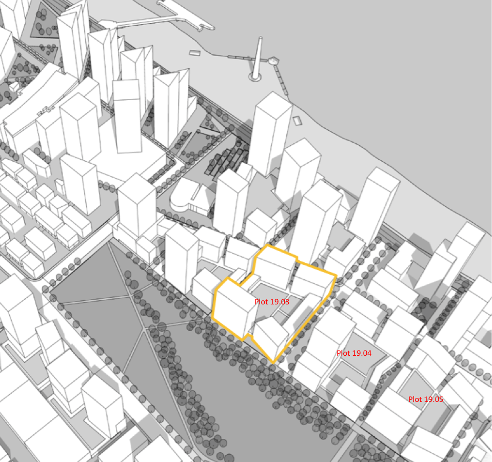 2015 Masterplan - plot 19.03 highlighted yellow, illustrating future Lower Riverside developments