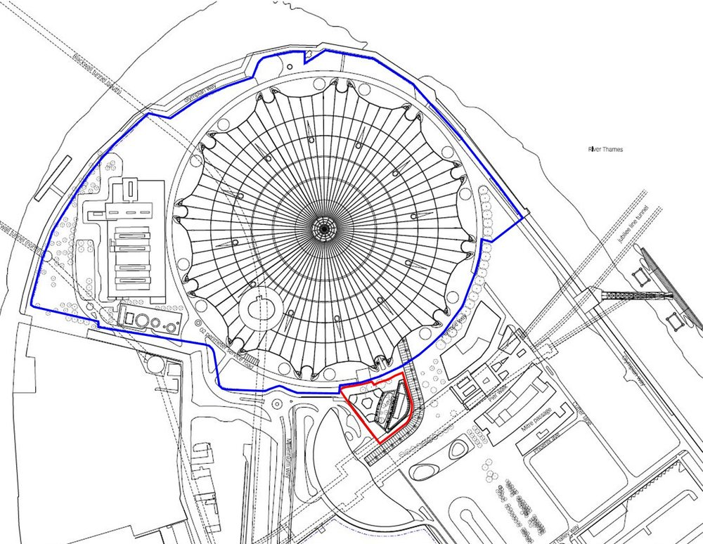 AEG estate (blue) and N0201 application area (red) on the Greenwich Peninsula [AEG/LDS]
