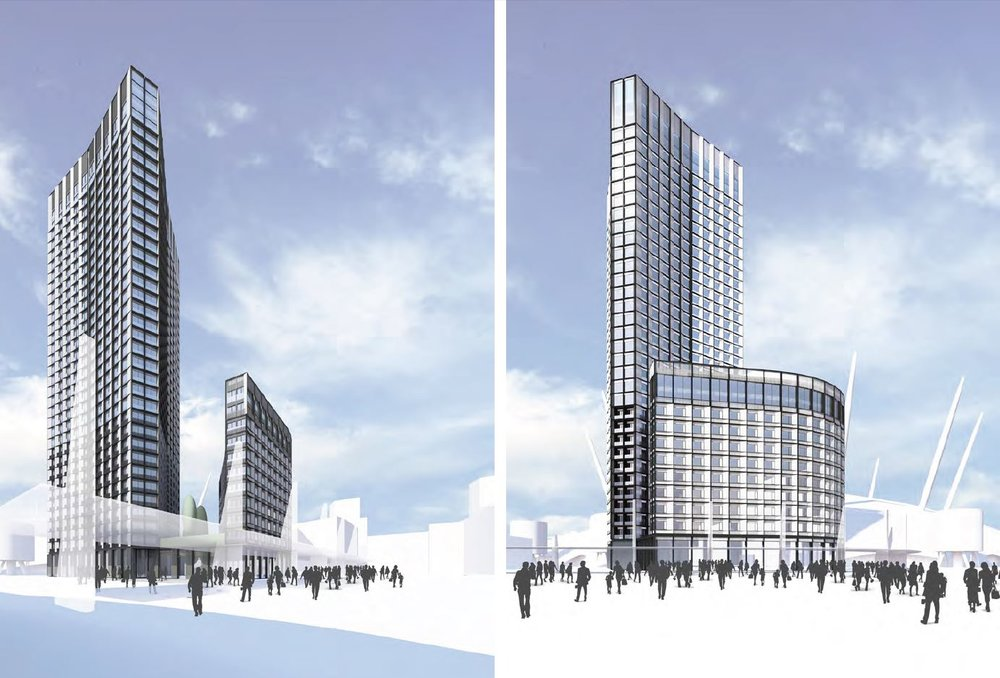 Left: view NE from North Greenwich station, and right: view NE from Peninsula Square  [AEG/LDS  ]