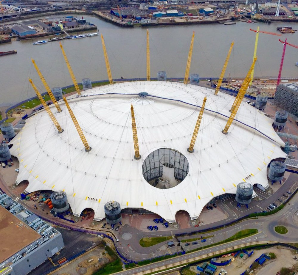 Blackwall Tunnel ventilation shaft within The O2's super structure - March 2016 [NPAS London]