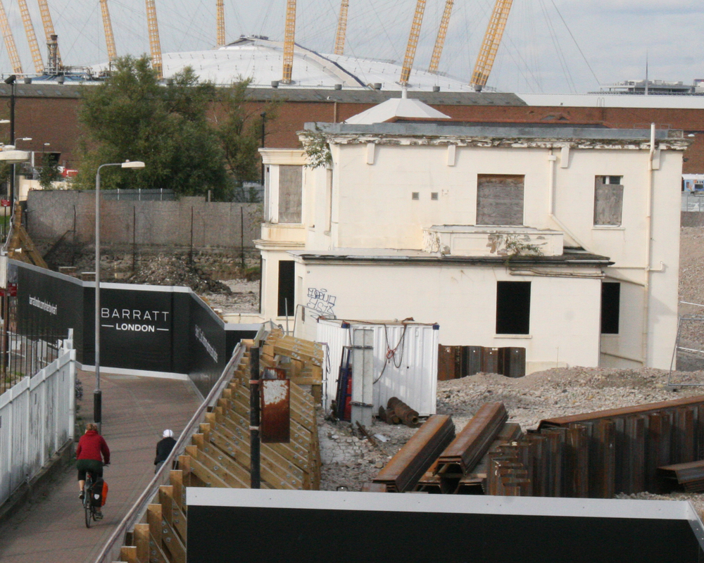 Enderby House shown a state of disrepair within the Barratt Homes Enderby Wharf development   [  Enderby Group  ]
