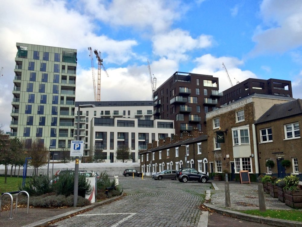 View along River Way towards The Pilot Inn and Knight Dragon's Cable & Roper development - November 2015 [greenpen.london]