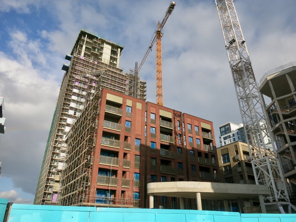 View of Block B, adjacent to construction site of Aperture - August 2016 [greenpen.london]